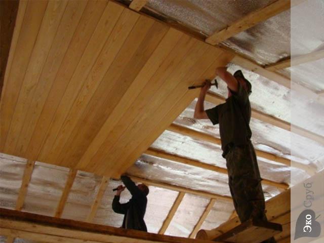 Потолок сруба своими руками 52